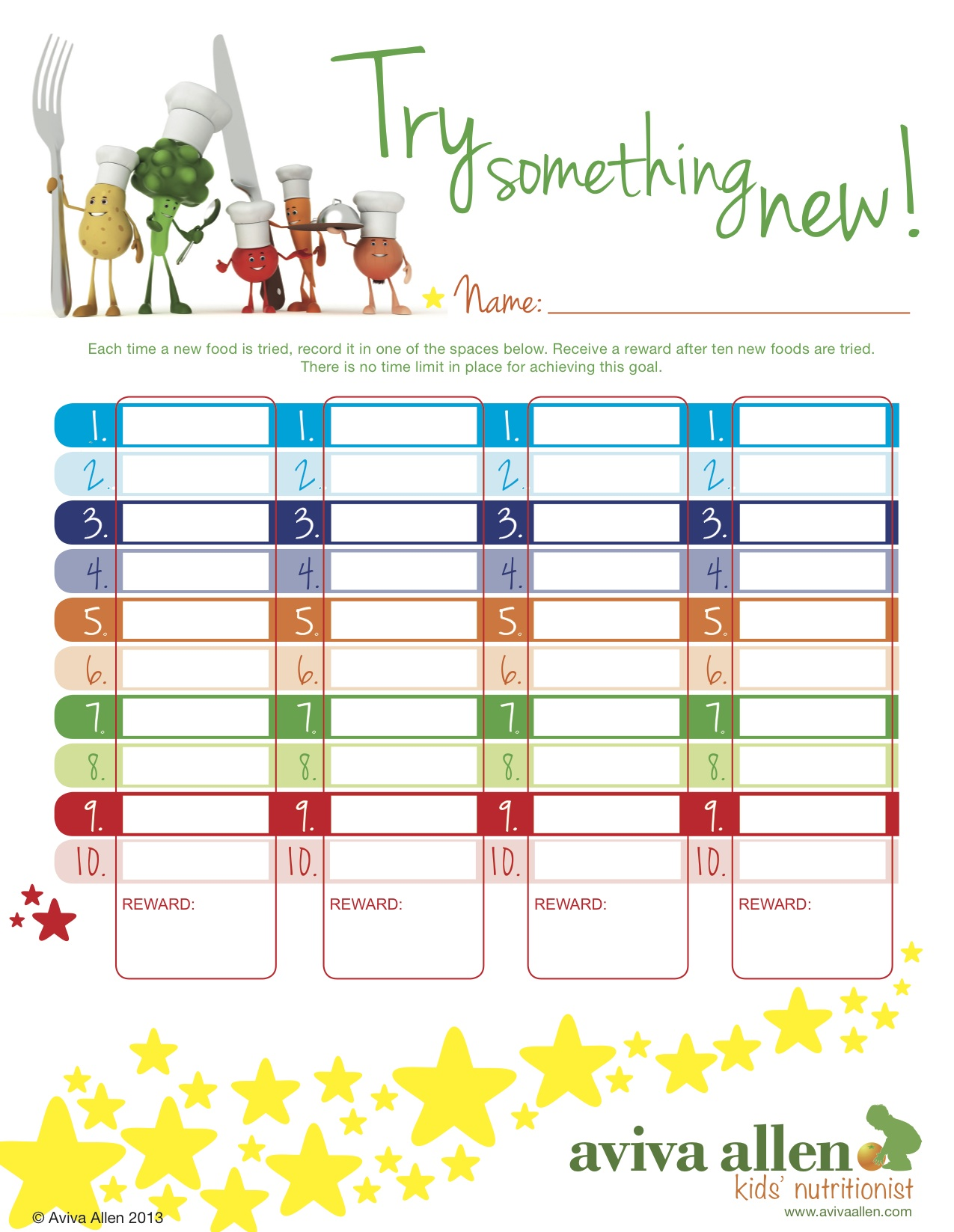 Reward Chart For Trying New Foods